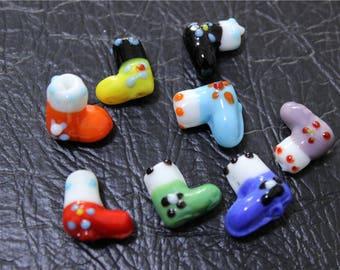 4 embossed shoe multicolor lampwork Murano glass beads