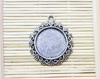 6 charms antique silver tone cabochon pendant