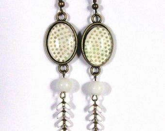 Earrings cabochons, Japanese paper weight golden ears white enamel chain
