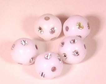 10 Pearl acrylic rhinestone round blanche10mm