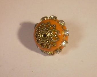 Indonesian orange rhinestone beads silver plated 16mm x 1