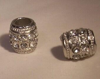 Rhinestone 13mm silver metal barrel beads