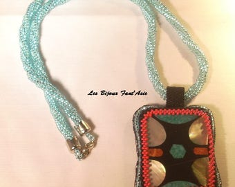 Embroidered Pearl Necklace pendant and Choker woven blue and black herringbone