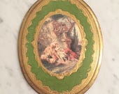 Reserved MarinaVintage Florentine Wall Decor, Made in Italy, Florentine Decor, Green Oval Plaque, Florentia, Regency Wall Decor
