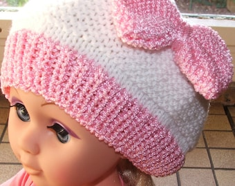Pink and white hat with bow for girl - size 18/24 months - handmade