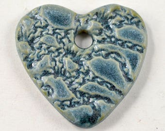 Ceramic Pendant Focal Bead Blue Heart Necklace Textured Pottery Jewelry Clay Pendant