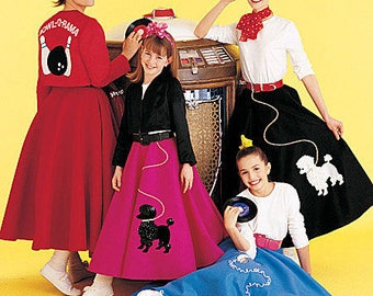 50s Malt Shop Poodle Skirt And Jacket Costume Pattern By McCalls 6234