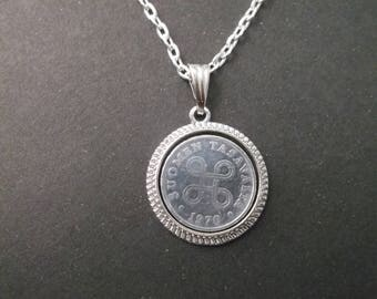 Finland Suomen Tasavalta  Coin Necklace - Finland Coin Pendant in Pendant Tray dated 1970