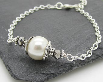 Ivory Pearl Bracelet, Pearl Bridal Jewellery, Bridesmaid Sets, Ivory Wedding, Bridal Party Gift, Simple Jewellery