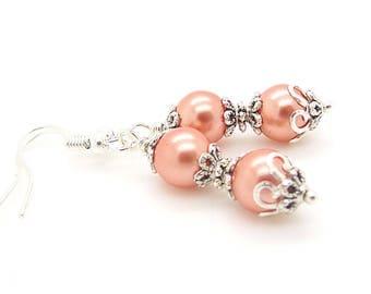 Peach Bridesmaid Earrings, Pearl Wedding Jewellery, Peach Wedding, Bridesmaid Gift, Pearl Drop Earrings, Wedding Earrings,