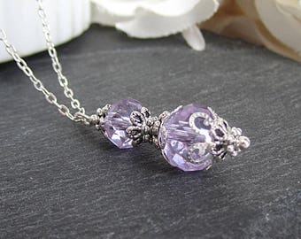 Lilac Bridesmaid Crystal Necklace Lapis Bridesmaid Jewellery Orchid Bridal Sets Lilac Wedding Jewellery Bridal Party Gifts Pale Purple