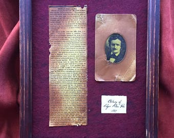 Framed Obituary of Poet, Edgar Allan Poe