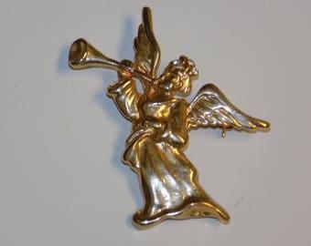 Vintage Gold Tone Angel Brooch