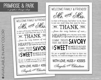 Wedding Welcome Letter Printable Card // Wedding Thank You Note // Wedding Weekend Bag