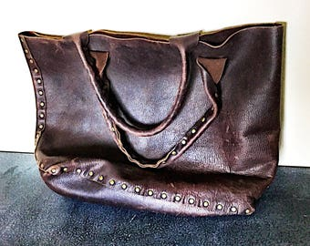 Vintage Brown Leather Tote - Large Unlined Leather Bag - Vintage distressed Chocolate  Brown Leather