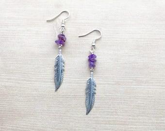 Amethyst Stone Feather Earrings in Silver