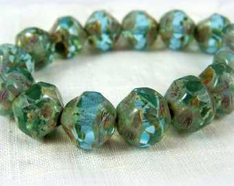 Czech Beads, Aqua Blue Picasso Central Cut, Czech Glass Beads - Aqua Blue (CEN/RJ-0882) - 8mm - Qty 15