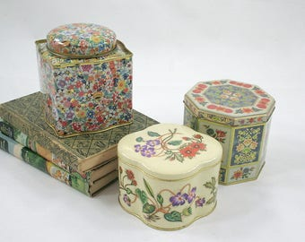 Collection of Floral Daher and Tin Box Company Tins