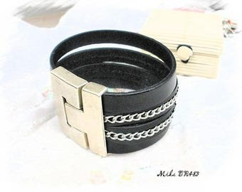 Mixed black leather and chain bracelet * Mika BR483 *.