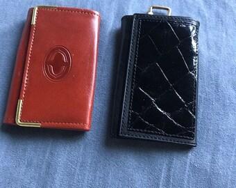 Lot of 2 Vintage NEW Stock Buxton 13 & Bond Street Italy LeatherKey Cases