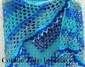 Châle crochet-Châle femme en laine-châle laine fait-main-châle originale-châle dentelle-laine bleu-coralie-zabo-boheme