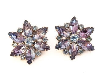 Blue and Purple Large Flower Rhinestone Clip On Earrings