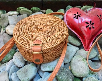 15cm Handmade Rattan| Round bag; Bali bags; Crossbody;  Boho bag; Hippie Bags; Made from Bali, Indonesia