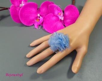"""Fancy """"Organza"""" blue organza flower holder ring - silver"""