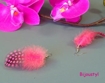 Feathers stand fuchsia earrings nickel free silver