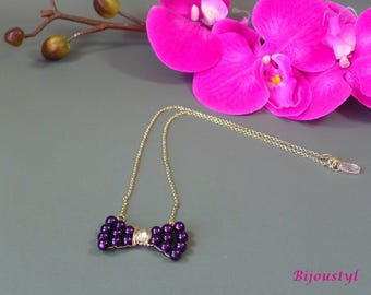 """Butterfly"" Purple glass bead necklace, silver chain"