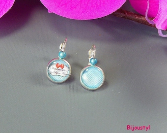 "Stud Earrings - 12 mm Cabochon - picture message ""once upon a time..."""
