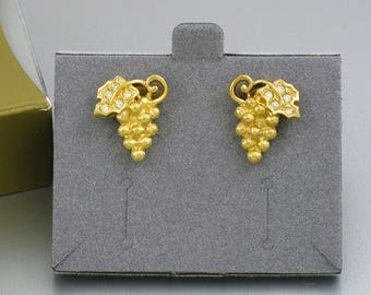 1996 Vintage AVON 'Fall Impressions' Pierced Earrings with Original Box. Rhinestone & Goldtone Grape Earrings. Vintage Avon Jewelry.