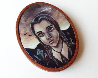 Wednesday Adams - Miniature Acrylic Painting by Amy E Owers