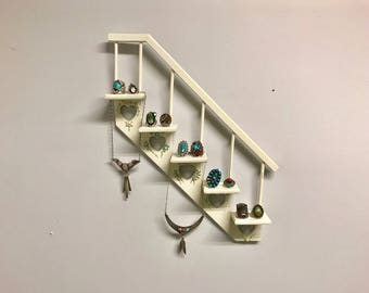 White stairs wall hanger knick knack shelf vintage ring jewelry display floral flower hearts