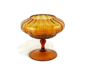 Vintage Italian Empoli Optic Ribbed Pedestal Bowl