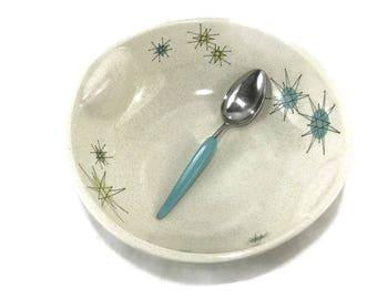 Vintage Franciscan Starburst 10 Inch Round Vegetable Bowl * Mid Century Dishes * Atomic Age Serving Bowl