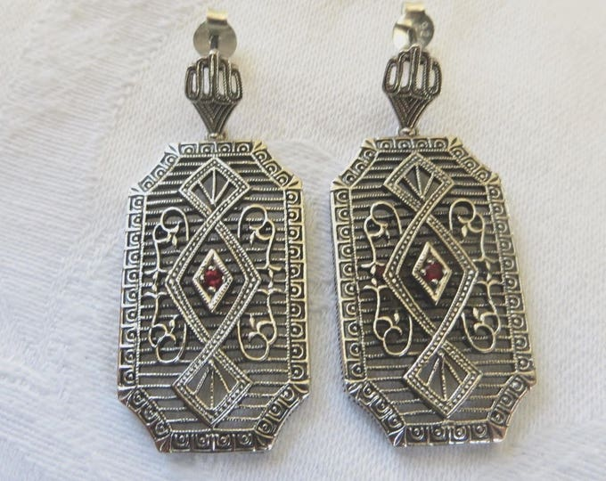 Art Deco Earrings, Sterling Silver Filigree, Fire Garnet Stone, Pierced Earrings, Art Deco Jewelry