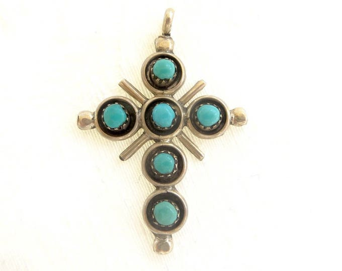 Sterling Zuni Cross Pendant, Snake EyesTurquoise Cross, Signed Zuni Artist June Qualo, Native American Jewelry, New Mexico
