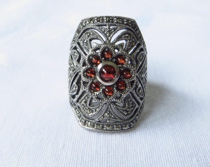 Art Deco Garnet Ring, Sterling Silver Marcasite Ring, Vintage Art Deco Jewelry, Size 7 Ring