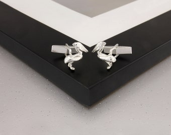 Pelican Cufflinks in Sterling Silver.
