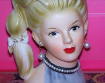 "Exceptional Caffco large 7"" tall Blonde Ponytail Halter top Mod 60's Head vase Headvase Vintage Beauty Mint"