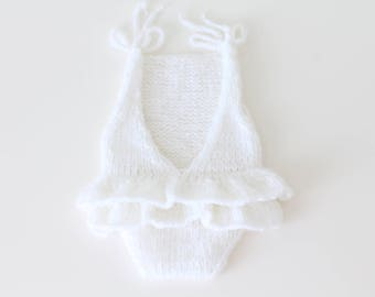 Newborn props - Newborn romper - Baby girl props - Photo props - Newborn girl - Baby photo prop - Newborn baby photo - White - Baby girl