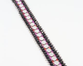 Black & Pink Hex Bracelet