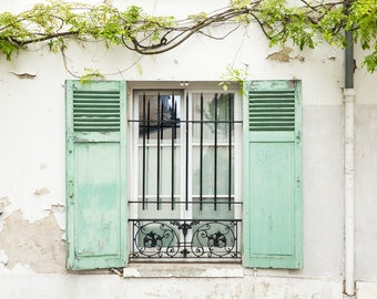 Paris Photography Print - Window with Mint Shutters - Paris Window Wall Art - Photography Print