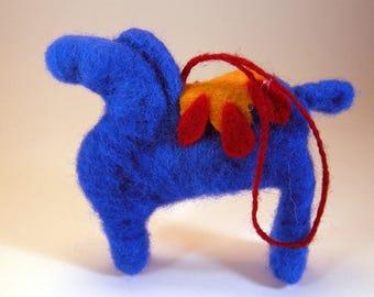 Needle felted blue horse/blue horse charm/horse lover gift/blue horse ornament/needle felted dala/hanging horse ornament/wool blue horse