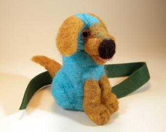 Felted blue dog bookmark/needle felted pup/blue gold hound/bookworm bookmark gift/bibliophile bookmark/miniature puppy dog bookmark/doggie