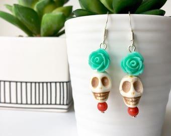 Skull Earrings, Mexican Earrings, Day of the Dead Earrings, Dia de los Muertos Earrings, Halloween Earrings, Sugar Skull Earrings, Macabre