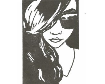 Summer Cling Stamp, Cling Stamp,Female Face Stamp, Summer, Female cling stamp