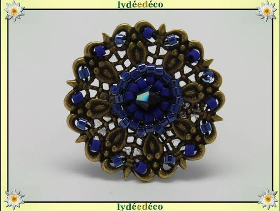 Charming retro vintage adjustable flower ring Japanese brass 25mm blue black glass beads