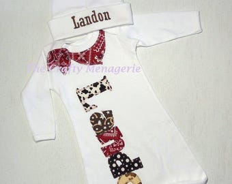 Baby Boy Coming Home Outfit, Boy Layette, Western Newborn, Personalized Boy Gown, or, Personalized Bodysuit with Optional Hat or Socks
